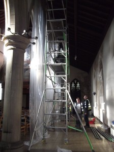 The new 'curtains' for the north aisle.